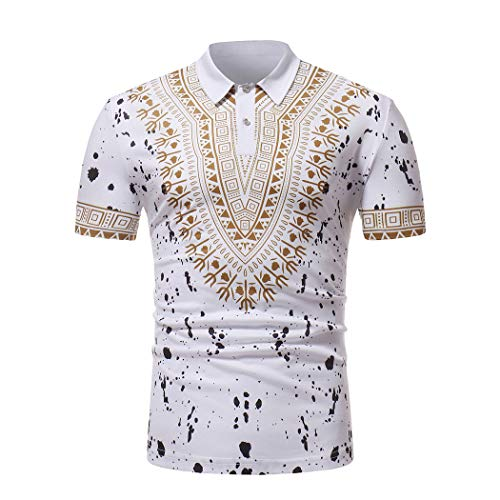 Men's Slim Fit African Traditional Cultural Wear Polo Shirts Dashiki Short Sleeve White