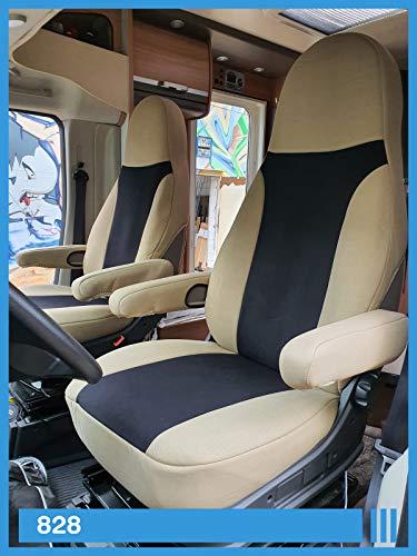 Maß Sitzbezüge kompatibel mit Wohnmobil Fahrer & Beifahrer Farbnummer: 828 (beige schwarz)