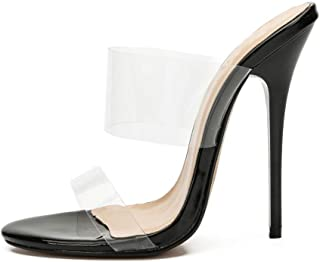 Vrouwen transparante hoge hakken, grote open teen hak 13cm hoge sexy hoge hakken pantoffels met twee transparante riemen a...