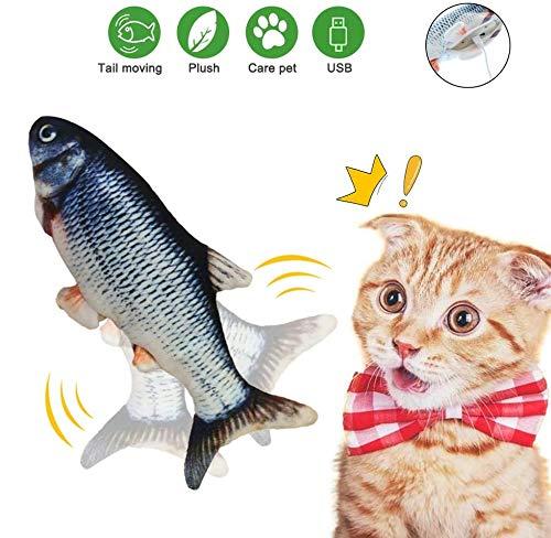 BTkviseQat Spielzeug mit Katzenminze, Elektrische Fische Katze, Katze Interaktive Spielzeug, Simulation Plush Fisch, Kissen Kauen Spielzeug für Katze, Kitty zu Spielen, Beißen, Kauen und Treten
