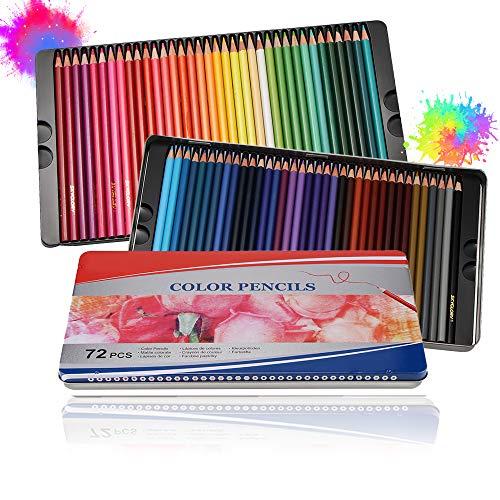 Powstro Lápices de Colores Profesionales, 72 pcs,Lapiz para Colorear de Dibujo y...