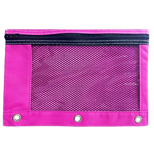 1 Pink Zippered Pencil Case by School Smarts - 3 Ring Pink Pencil Pouch for Binder with Mesh and plastic window. For Use in and Out of the Classroom.