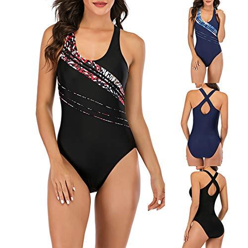 YANFANG Traje de baño Sexy para Mujer, Imprimir Bikini de Playa sin Espalda Sexy Traje de baño de una Pieza de Color sólido