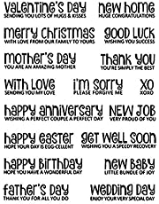 Valentine's Day Sending Love XO Happy Anniversary Congratulation New Job Home Wedding Greeting Words Transparent Silicone Clear New Stamps for Card Making Scrapbooking Handmade Paper Crafts Stencil