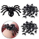 100 Pequeñas Arañas De Plástico 2,2 x 1,5cm Halloween Negro Falsas Arañas...