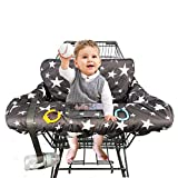 Shopping Cart Cover for Baby, 100% Cotton Sitting Area, with Bottle Strap and 6.5' Cell Phone Holder Toddler 2-in-1 High Chair Cover Summer Grocery Cart Cushion for Boy or Girl, Large, Star Print