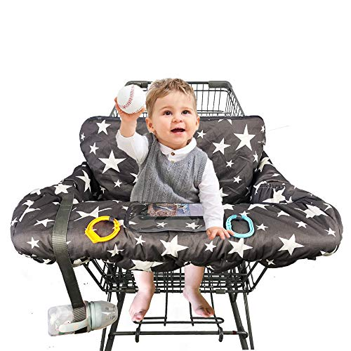 "Shopping Cart Cover for Baby, 100% Cotton Sitting Area, with Bottle Strap and 6.5"" Cell Phone Holder Toddler 2-in-1 High Chair Cover Summer Grocery Cart Cushion for Boy or Girl, Large, Star Print"