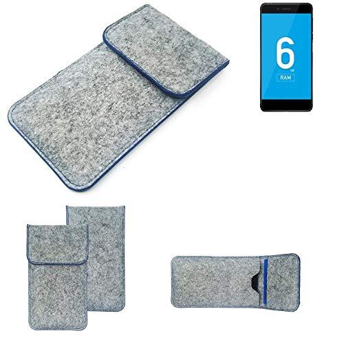 K-S-Trade Handy Schutz Hülle Für Vernee Mars Pro 4G Schutzhülle Handyhülle Filztasche Pouch Tasche Hülle Sleeve Filzhülle Hellgrau, Blauer Rand