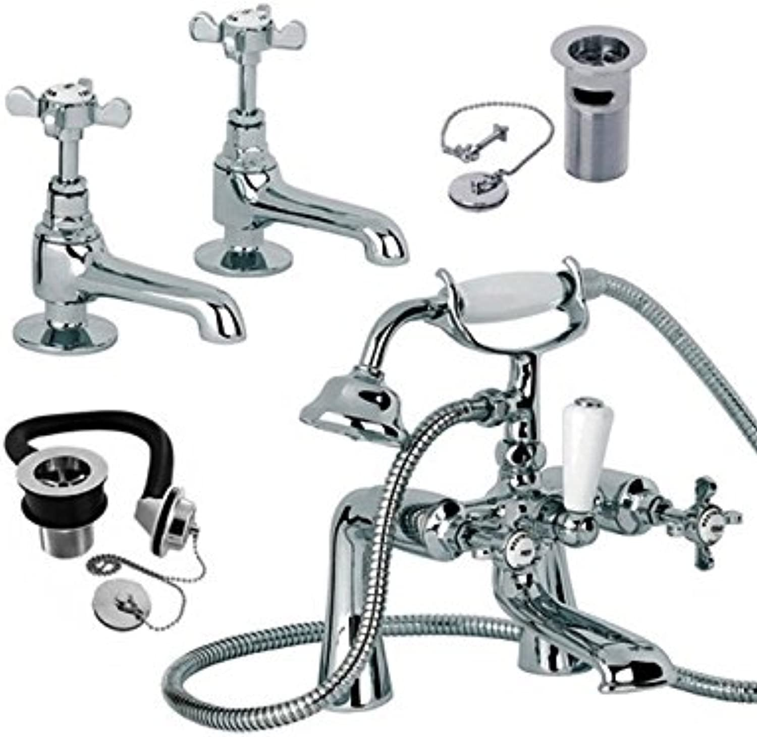 Mayfair Westminster Basin Taps and Bath Shower Mixer Tap Pack WE025
