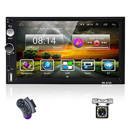OiLiehu Doppel Din Android Autoradio Bluetooth, 7 Zoll HD Touchscreen 2+32G Auto Multimedia Player Mit WiFi / GPS / SWC / TF / USB / AUX-In / Mirror Link für Android IOS + Rückfahrkamera