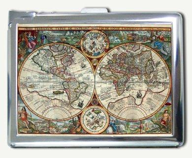 Antique Nova World Map Regular Cigarette Case with Built-in Lighter