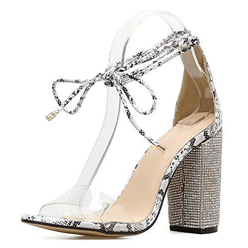 Sandalias abiertas para mujer, con diamantes de imitación, con tirantes, transparentes, con correa de Gladiator