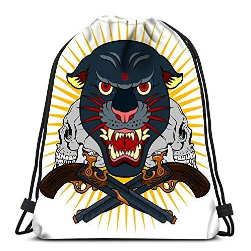 Ahdyr Kordelzug Rucksack Taschen Sport Cinch Porträt von grunzenden Panther in einem Alten Schädel Tattoo-Stil String Rucksack Bulk Aufbewahrung Taschen für Schule Gym