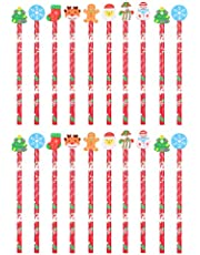 Toyvian 20Pcs Christmas Pencils Holiday Wooden Pencils Xmas Writing Pencils Christmas Stationery Set Kids Pen Children Party Favors Students Stationery Gift (Random Type)