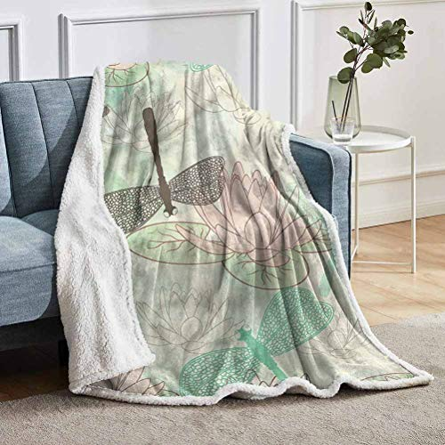 "YUAZHOQI Dragonfly Throw Blanket for Couch Bed Floating Soft Water Lily Throw for Girlfriend Best Friend 60"" x 80"""