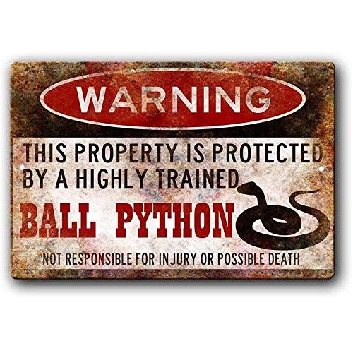 Ylens Ball Python Sign,Funny Metal Signs,Ball Python Accessories,Snake Warning Sign Aluminum Metal...