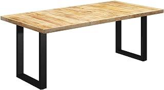 vidaXL Bois de Manguier Massif Table à Dîner à Pieds en O Table de Salle à Manger Table de Repas Meuble de Cuisine Maison ...