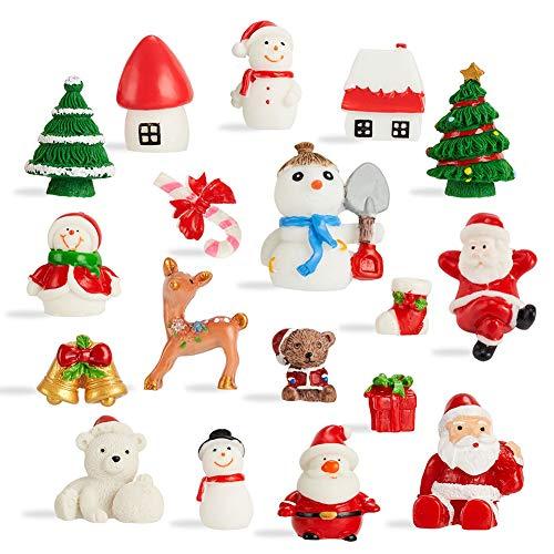 CCINEE 18PCS Christmas Miniature Figurines Ornament Kit Santa Claus Tree Resin Decoration for Fairy Garden Doll House Home Decor