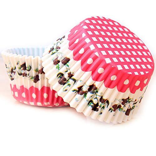FANDE Papel para Cupcakes, Papel para Cupcakes 500 Piezas Papel para Magdalenas Muffins para Hornear Pastel Tarta Cumpleaños Bodas Fiesta 5 Estilos