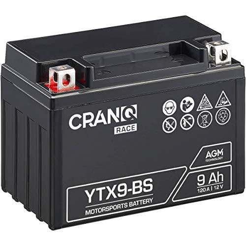 CranQ 12V 9Ah 120A AGM-Batterie YTX9-BS Motorradbatterie rüttelfest Roller Starterbatterie leistungsstark, wartungsfrei