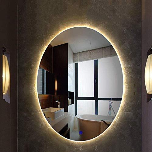 JFFFFWI Iluminación LED Espejo de baño Espejo de baño Regulable, Espejo elíptico Plateado + Control múltiple de un botón (Color: luz cálida, tamaño: 60x80cm)