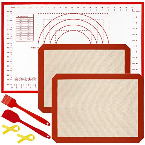 snaideal Backmatte und Silikon Teigmatte Set, 2 Stück Silikonmatte Baking Mats, 1 Teigmatte mit Messung, Antihaft rutschfest Wiederverwendbar, mit Silikon Spatel Backpinsel