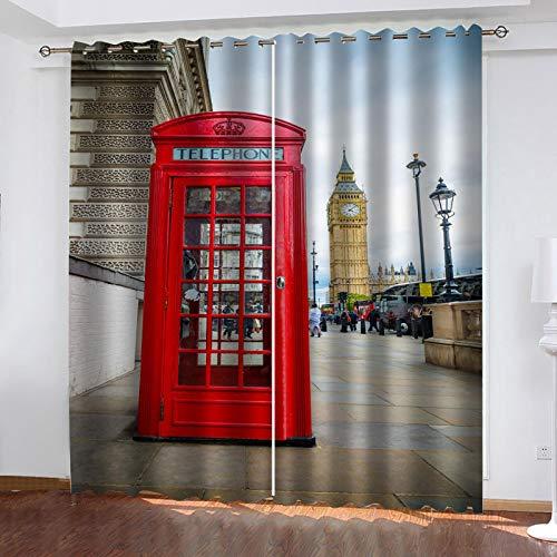 JNWVU 3D Vorhänge Blickdicht Gardinen 214X230Cm (BxH) Rote Telefonzelle In London Vorhänge Kinderzimmer Wohnzimmer Thermo Gardinen Für Raum Verdunkeln Ösenvorhang. 2Er/Set Verdunklungsgardine