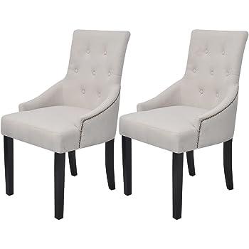 vidaXL 2X Chaises pour la Salle à Manger Polyester Salon Cuisine Intérieur