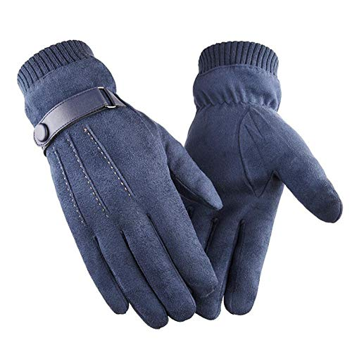 LvLoFit Winddichte Wildleder Leder Handschuhe de Touchscreen Thermo Fleece Elastisches Gestricktes Handgelenk Für Herren Winter (Blau)