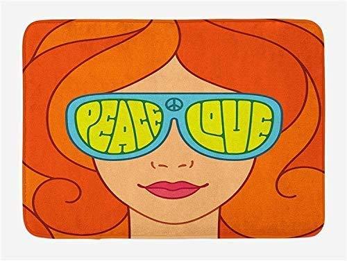 EU Alfombra de baño Absorbente Alfombra de Bienvenida Alfombra de Piso Interior para Exteriores Alfombra Antideslizante Chica de Cabello Rojo con Gafas de Sol Tipografía Retro Hippie con Amor y Paz