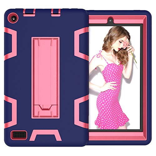 YA-Uzeun Tablet Case Shock-proof Stand Hard Cover for Amazon Kindle Fire 7 2019 2017 (G#Navy + Rose)