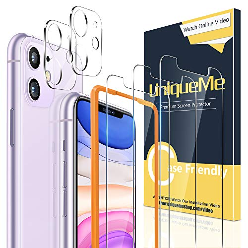 [2+3 Pack] UniqueMe Camera Lens Protector and Screen Protector for iPhone 11 6.1 inch Tempered Glass HD Clarity [Premium] Bubble Free Easy Install