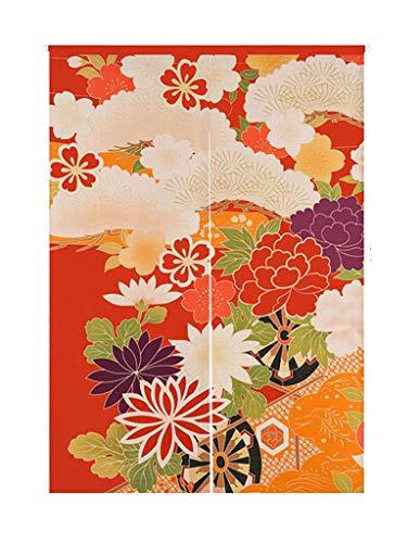 LIGICKY Cortina de Puerta Estilo japonés Noren de algodón y Lino, diseño Retro con Flores Impresas, para decoración del hogar, 85 x 120 cm, Multicolor