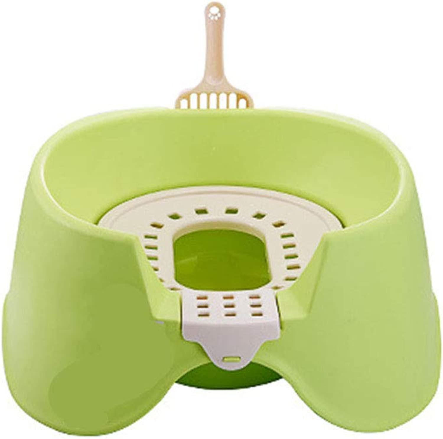 Cat Litter Box Squat Design with Cushion and Cat Litter Spoon Detachable EcoFriendly Safe NonToxic Easy to Clean for Pet Cats Dogs(Green)