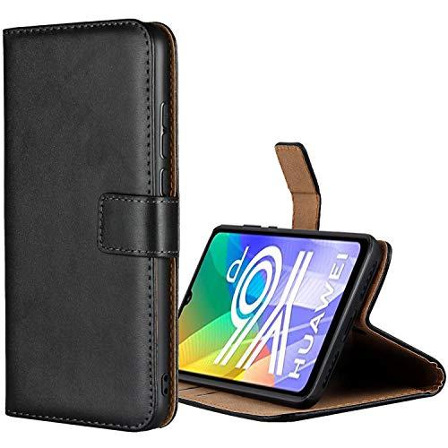 Aopan Huawei Y6P Hülle, Flip Echt Ledertasche Handyhülle Brieftasche Schutzhülle für Huawei Y6P, Schwarz