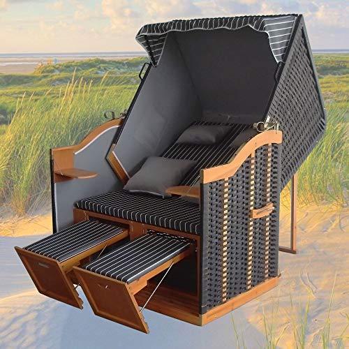 XINRO® – XY-71 – Volllieger Ostsee Strandkorb anthrazit inkl. Strandkorbhülle u. 4X Kissen, schwarzes Polyrattan, Ostsee Strandkorb Form - 2
