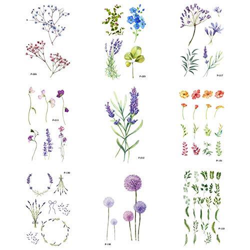 9 Pcs/Los Flower Fake Tattoo Plant Temporäre Tattoo-Aufkleber Für Männer Frauen Kunst Blüte Tattoo Vine Tattoos Papier
