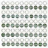 Toyvian 50pcs Schlüsselanhänger Nummern 1 bis 50 Nummerierte Schilder zum Organisieren und Sortieren Aluminiumlegierung Kennzeichnungsmarken