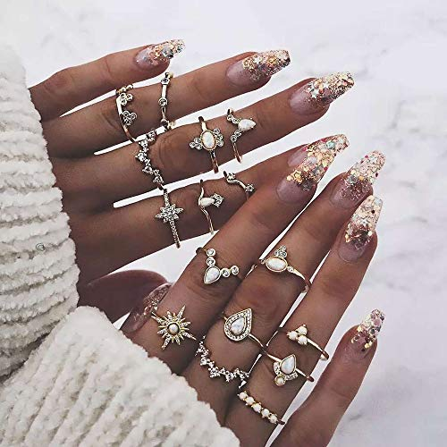 Denifery16pcs Boho Gold Corwn Water Drop Diamond Ring Vintage Ring Set Gift for Her Crystal Joint Knuckle Ring Set for Women and Girls