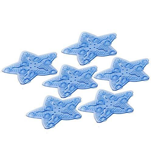 H HANSEL HOME Pack de 6 Pegatinas Antideslizantes para Ducha o bañera, diseño de Estrella, Color Azul 10,50 X 10,50 CM