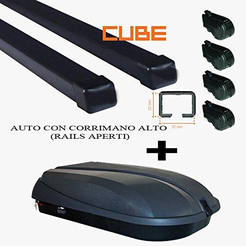 PORTATUTTO COMPATIBILE CON PANDA 5P RAILS DAL 2003 AL 2012 BARRE NERE PIU BOX 320LT COLORE NERO