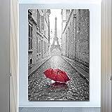 KWzEQ Torre Eiffel y Paraguas Rojo Lienzo Moderno Arte...