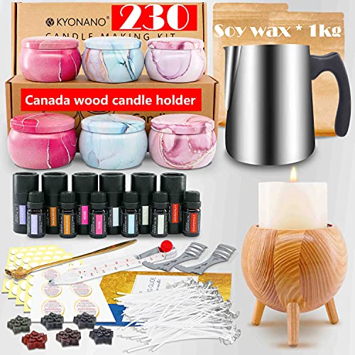 KYONANO Candle Making Kit – Easy to Make Colored Candle Soy Wax Kit Include Wax, Rich Scents, Dyes, Wicks, Tins &More
