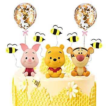 MEMOVAN Winnie The Pooh Cake Topper Pooh Bear Cake Topper Cupcake Topper Winnie Characters Toys Mini Figurines Collection Playset Pooh Cake Decoration for Kids Birthday Baby Shower Party Supplies