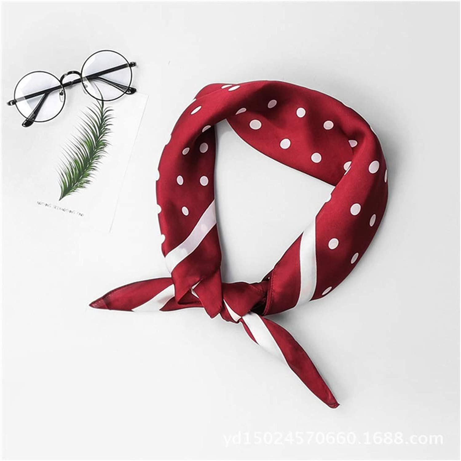 AchangScarf New Spring Wave dot Wild Decorative Scarf Small Square Scarf Silk Scarf (color   A)