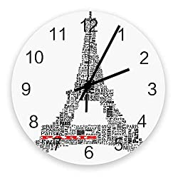 12-Inch Indoor Silent Non-Ticking Wall Clock Text of Eiffel Tower Battery Operated Home Decor Wall Clock for Living Room/Kitchen/Office