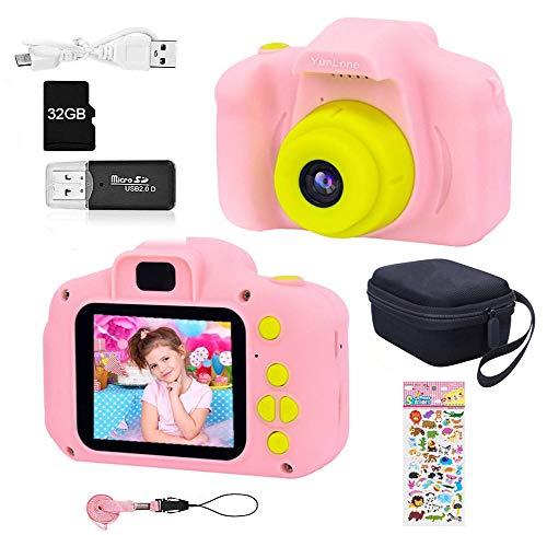YunLone ToyZoom 1080P Macchina Fotografica per Bambini Fotocamera Digitale Portatile Mini DV Videocamera per Bambine 2 Pollici IPS – Rosa