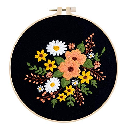 Yehapp European Style Plants Flowers Pattern DIY Embroidery Ribbon Set Beginners with Embroidery Shed and Hoops Sewing Kit Cross-Stitch Crafts Hand-Stitched Decoration