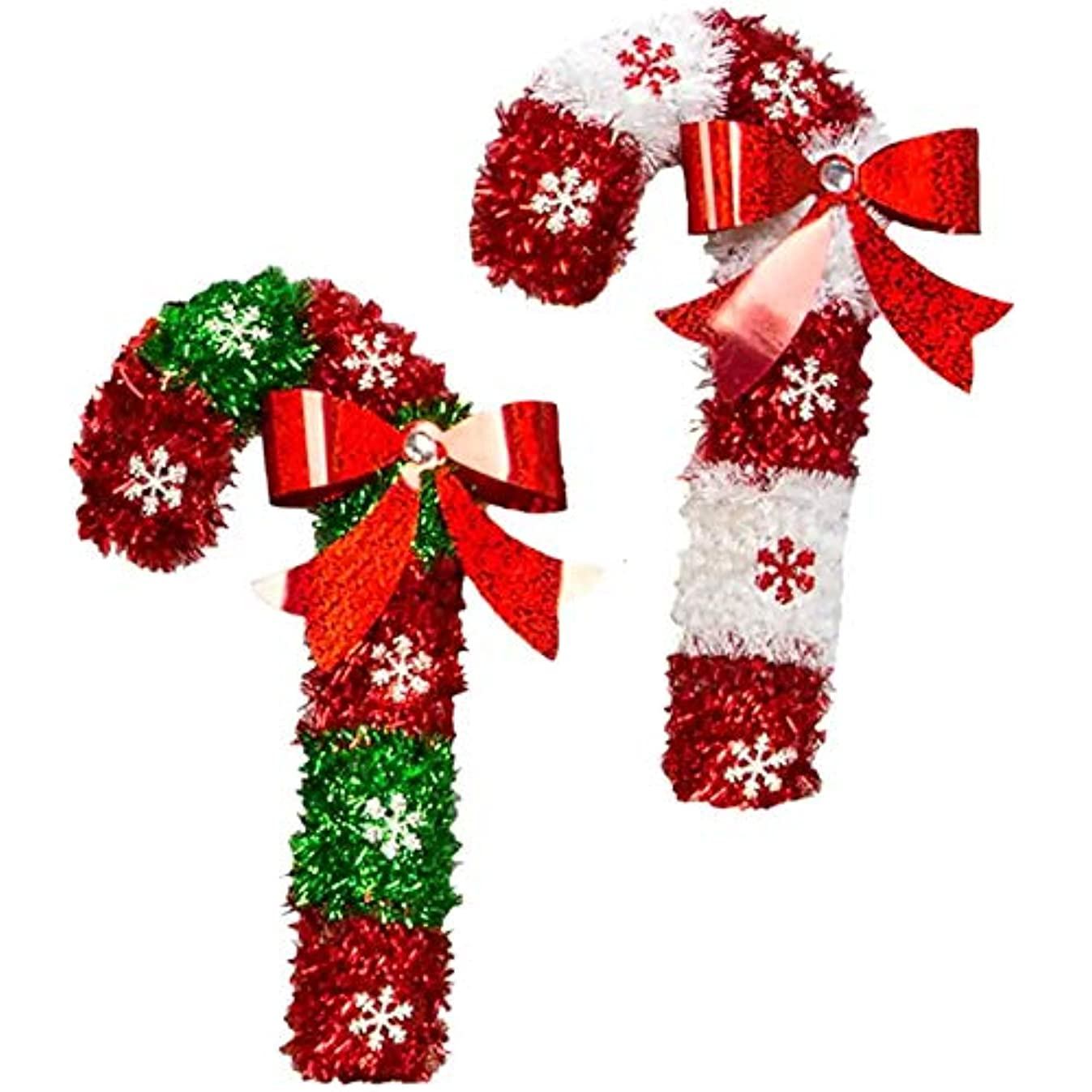 Christmas Decorations Merry Celebrate A Holiday Shiny Tinsel Candy Cane Decore for Home Decor Office Party School Doorway Wedding Church Fireplace Set of 2 Pack Green and Red Wall Stair Hanging Decor