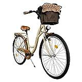 Milord. 2018 Cómoda Bicicleta de ciudad con una Canasta, Bicicleta, 1 Velocidad, Rueda de 28', Marrón
